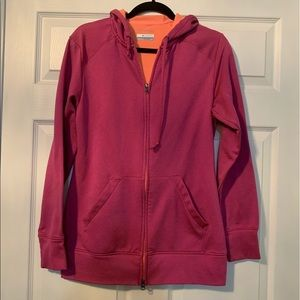 Woman's Columbia pink zip up hoodie